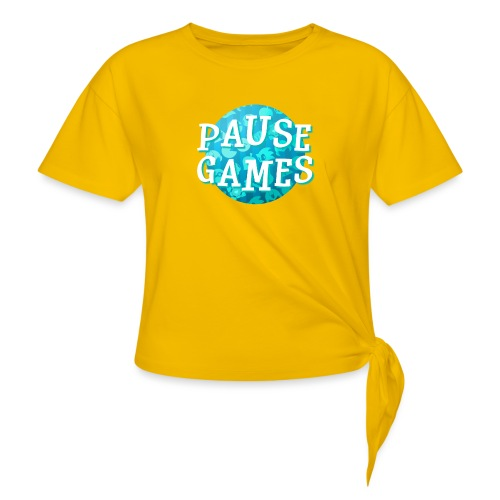 Pause Games New Design Blue - Women's Knotted T-Shirt