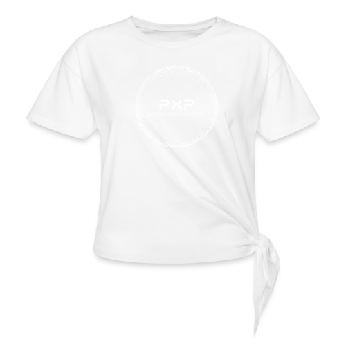 white logo transparent 2x - Women's Knotted T-Shirt