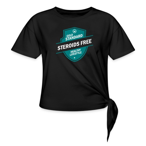 GoldStd-SteroidsFree-33 - Women's Knotted T-Shirt