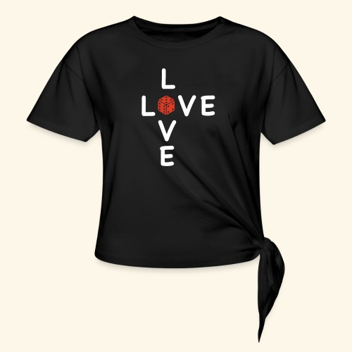 LOVE Cross white wuerfel red 001 - Knotenshirt