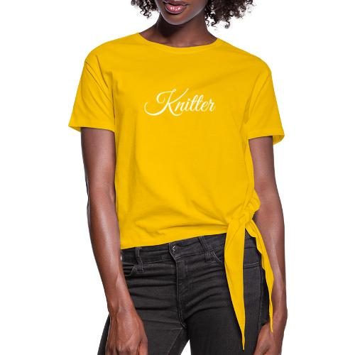 Knitter, white - Women's Knotted T-Shirt