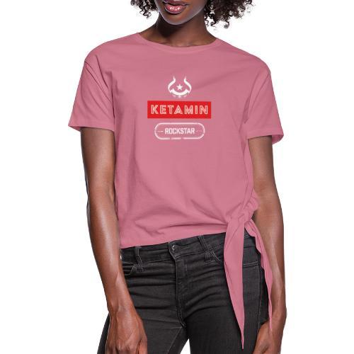 KETAMIN Rock Star - White/Red - Modern - Women's Knotted T-Shirt