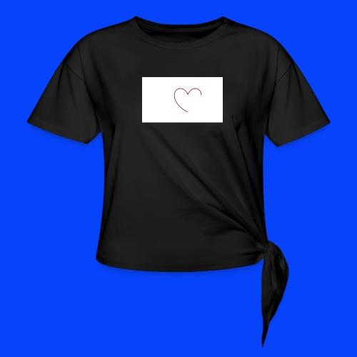t-shirt bianca con cuore - Maglietta annodata