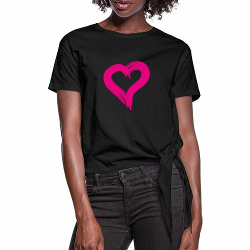 Pink Heart - Knotted T-Shirt