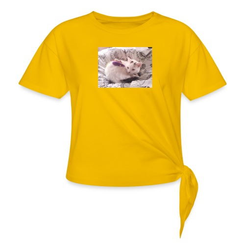 CAT SURROUNDED BY MICE AND BUTTERFLIES. - Knotted T-Shirt