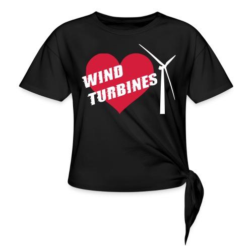 wind turbine grey - Women's Knotted T-Shirt