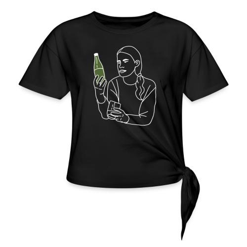 Emma (Vit) - T-shirt med knut dam