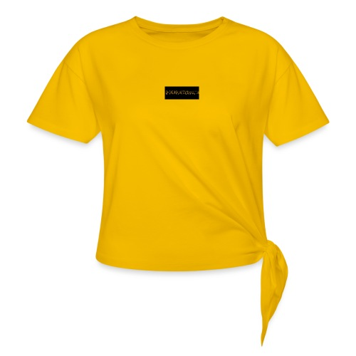 orange writing on black - Knotted T-Shirt
