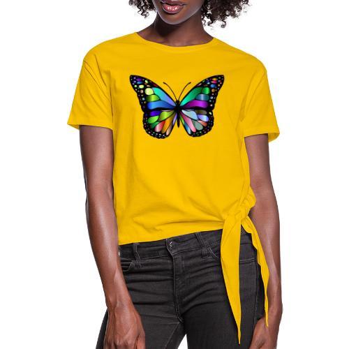 Kolorwy Motyl - Koszulka damska z wiązaniem