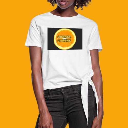 Orange_Logo_Black - Women's Knotted T-Shirt