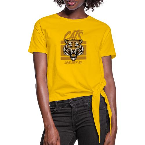 Cats, love them all - Vrouwen Geknoopt shirt