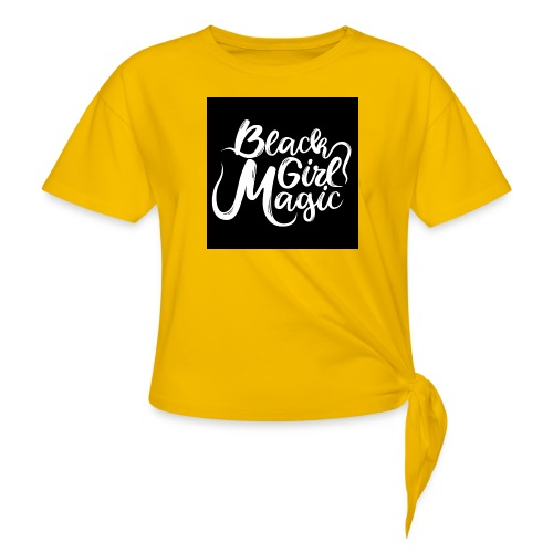 Black Girl Magic 1 White Text - Knotted T-Shirt