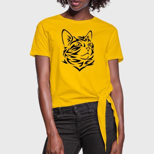 Chat Tribal Tattoo - T-shirt à nœud Femme