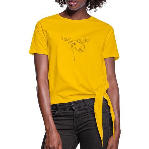 Elch braun in Linien - Frauen Knotenshirt