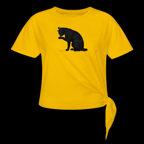 chat noir élégant - T-shirt à nœud