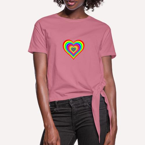Heart In Hearts Print Design on T-shirt Apparel - Women's Knotted T-Shirt