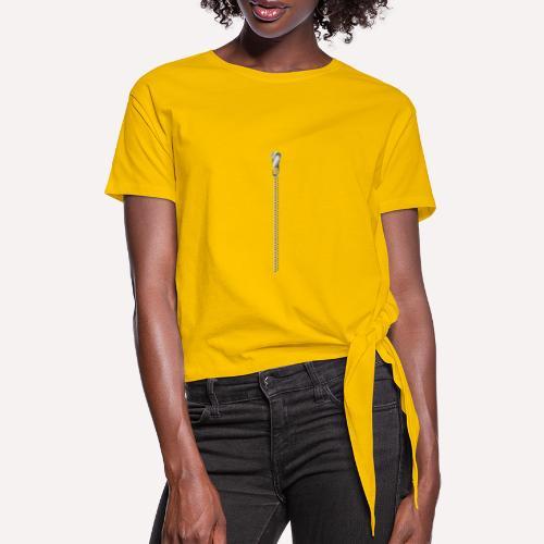 Zipper Funny Surprising T-shirt, Hoodie,Cap Print - Women's Knotted T-Shirt