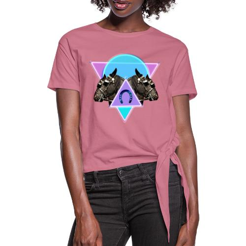 Neon horses - Women's Knotted T-Shirt