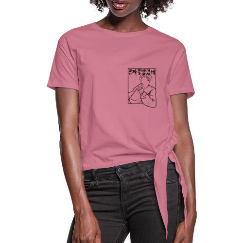 You Look Handsome B&W - Women's Knotted T-Shirt