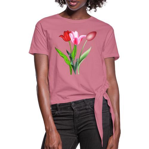 summer floral collection - Maglietta annodata da donna