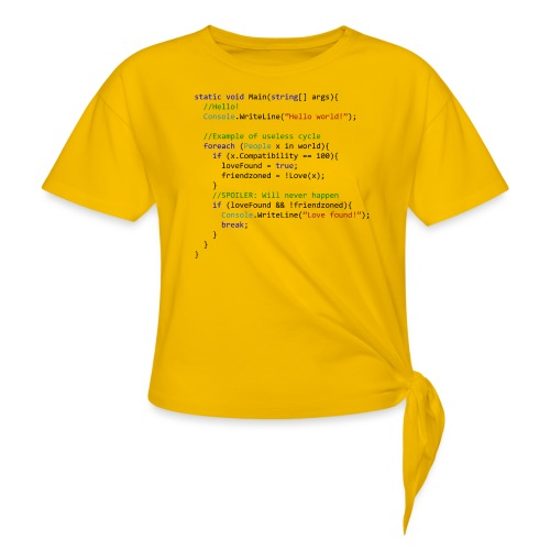 Love seen by a C# programmer - Maglietta annodata