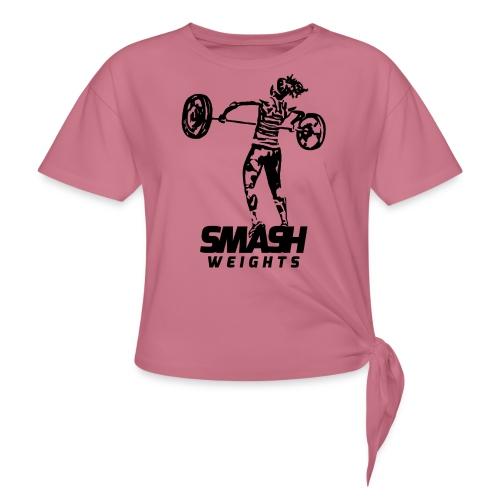 SmashWeightsWoman png - Women's Knotted T-Shirt