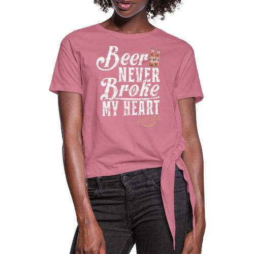 Long Neck Ice Cold Beer in White - Women's Knotted T-Shirt