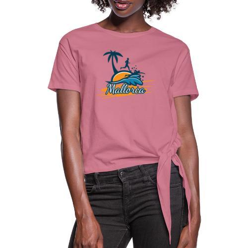 Joggen auf Mallorca - Sport - sportlich - Jogging - Frauen Knotenshirt