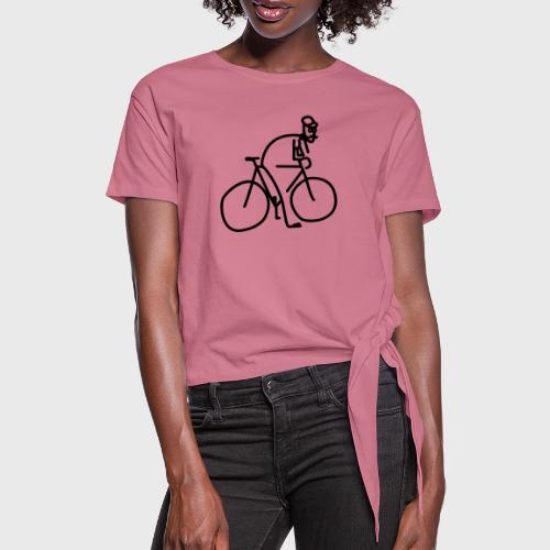 Vélo et cycliste à moustaches - T-shirt à nœud Femme