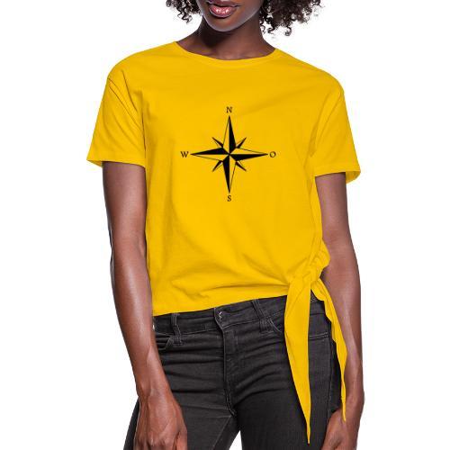 Kompas sort - Dame knot-shirt