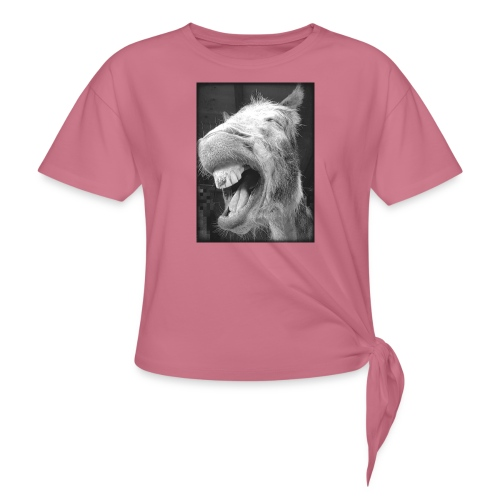 lachender Esel - Frauen Knotenshirt