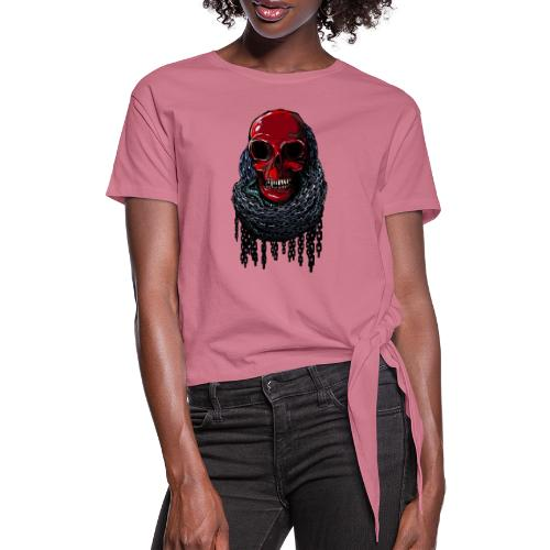 RED Skull in Chains - Women's Knotted T-Shirt