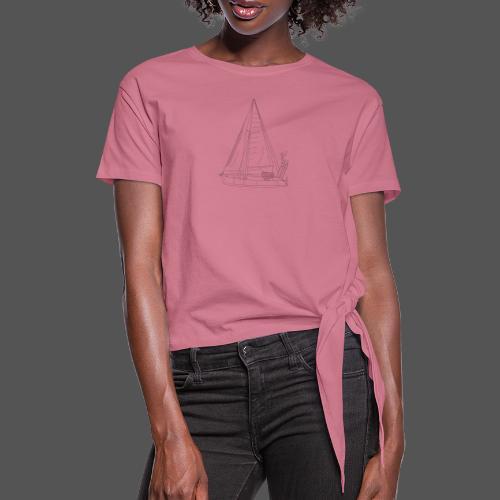 Zeichnung Segelboot Segel hoch - Frauen Knotenshirt