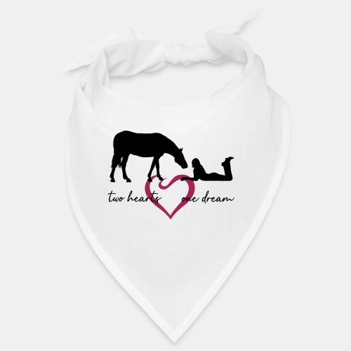two hearts one dream liegendes Mädchen Pferd - Bandana