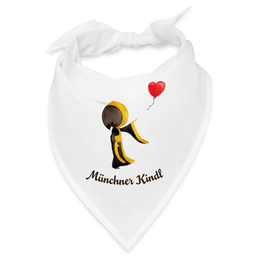 Münchner Kindl mit Herz-Luftballon und Text dunkel - Bandana