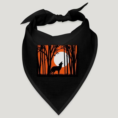 Mond mit Wolf im Wald Sonnenuntergang Silhouette - Bandana