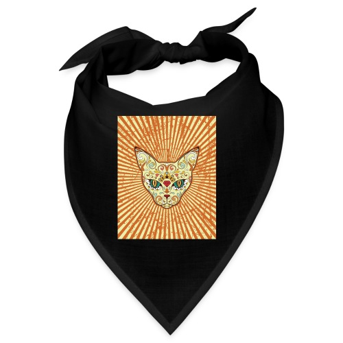 cat calavera grunge effect t shirt design - Bandana