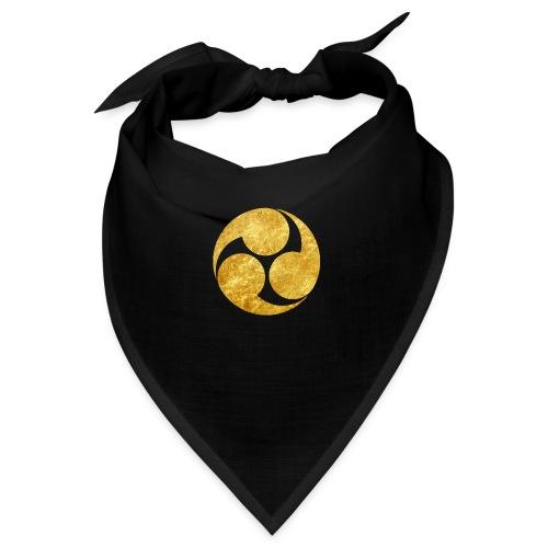 Kobayakawa Mon Japanese clan gold on black - Bandana