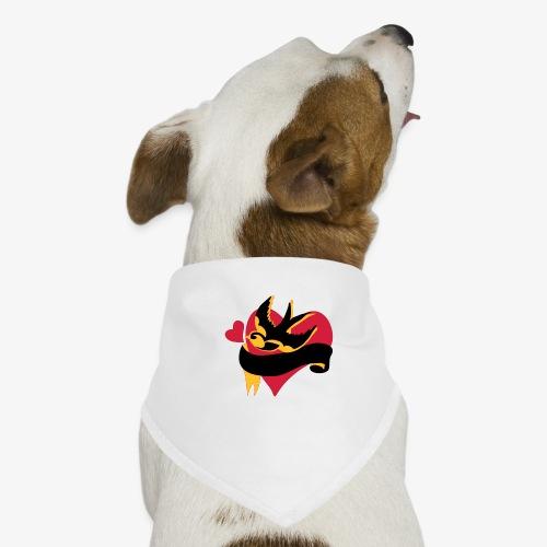 retro tattoo bird with heart - Dog Bandana
