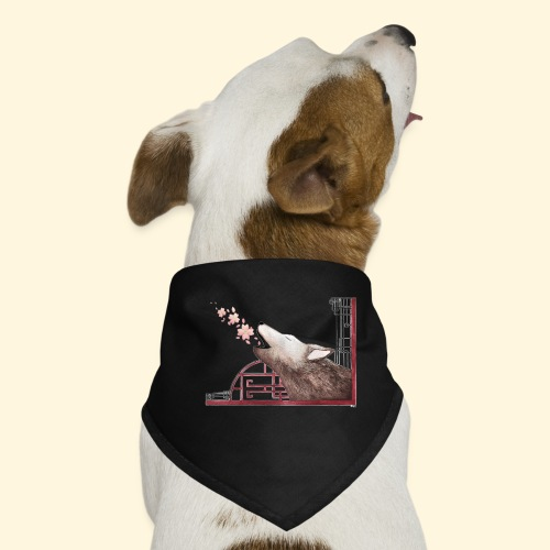Le chant du loup aux fleurs de cerisier - Bandana pour chien