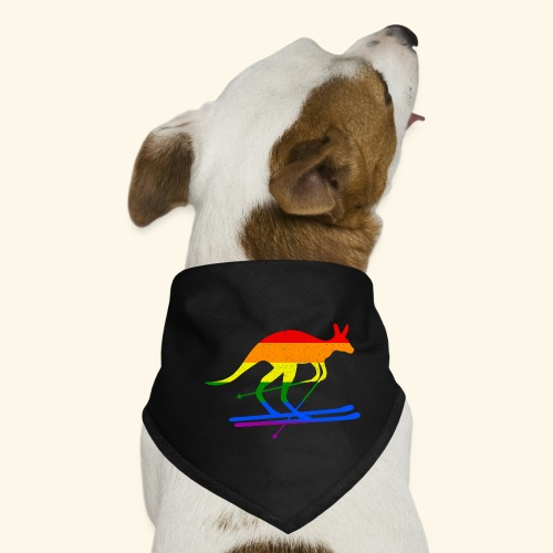 Skifahrer Känguru Ski Wintersport Regenbogenfahne - Hunde-Bandana
