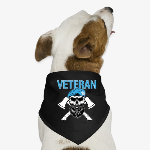 Veteran - Dödskalle med blå basker och yxor - Hundsnusnäsduk