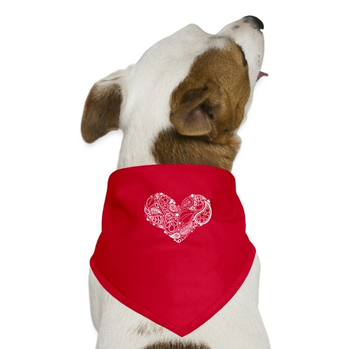White Leaf Heart Mandala - Dog Bandana