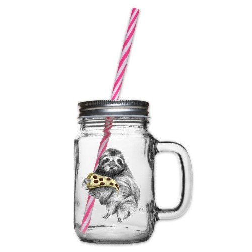 Slot Eating Pizza - Glass jar with handle and screw cap