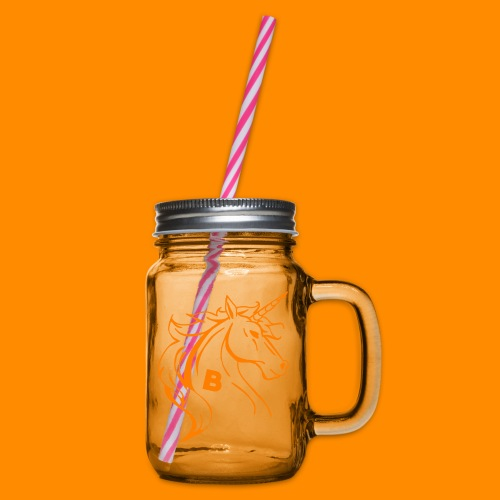 orange biodusty unicorn shirt - Drinkbeker met handvat en schroefdeksel