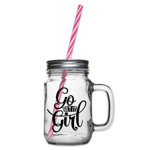Go get it girl opdruk - Drinkbeker met handvat en schroefdeksel