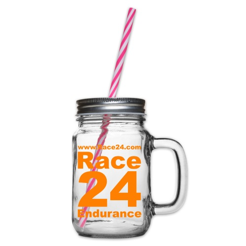 Race24 Logo in Orange - Glass jar with handle and screw cap