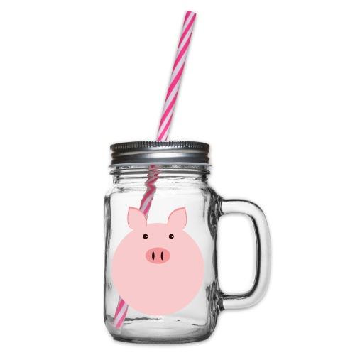 Schweinchen Fred - Henkelglas mit Schraubdeckel