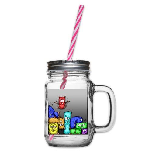 hamstris_farbe - Henkelglas mit Schraubdeckel