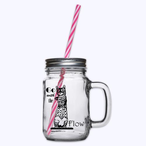 YogaKat1 schwarz - Henkelglas mit Schraubdeckel